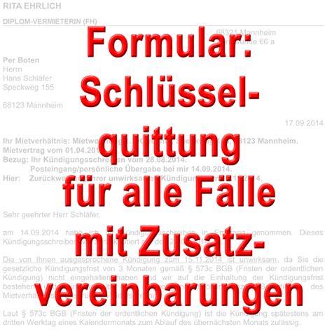 Vorlage Kündigung Mietvertrag Unter Vorbehalt Formular Schl 252 Sselquittung F 252 R Alle F 228 Lle Mit Zusatzfunktionen