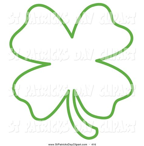 Four Leaf Clover Outline Clip by Four Leaf Clover Black And White Clipart 51
