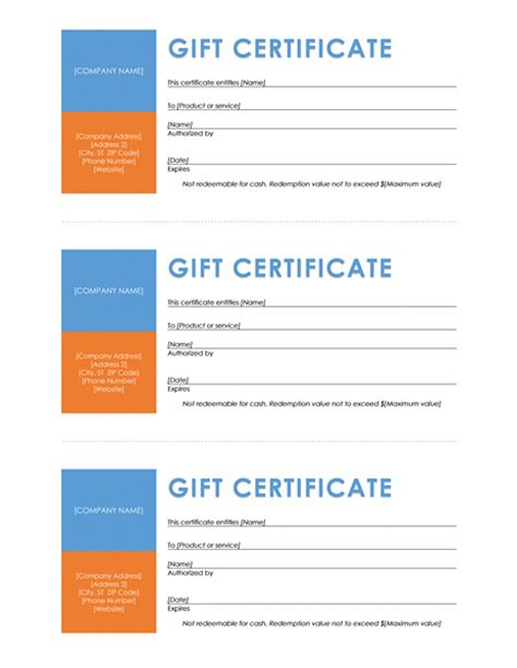 download gift certificates templates for microsoft office