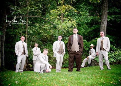 groomsmen groom country wedding brown tux rustic our