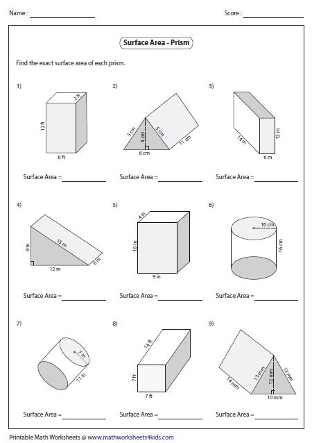 Surface Area Of Triangular Prism Worksheet by Surface Area Worksheets