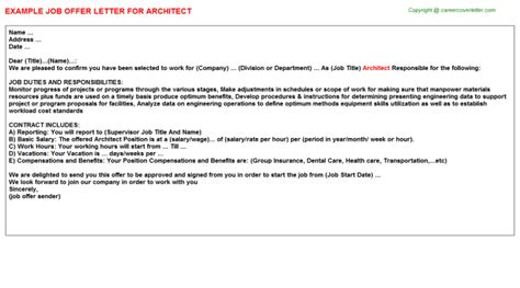 appointment letter format architect architect offer letter