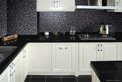 Kitchen Backsplash Ideas With Black Granite Countertops Artificial Quartz Kitchen Countertop Black Color