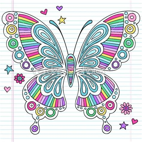 doodle pattern butterfly rainbow butterfly notebook doodles vector illustration by