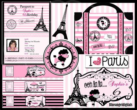 paris themed birthday invitations 5 best images of paris themed birthday party free