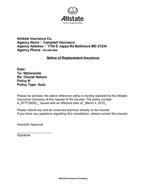 cancellation letter of investment policy nelson cancellation letter