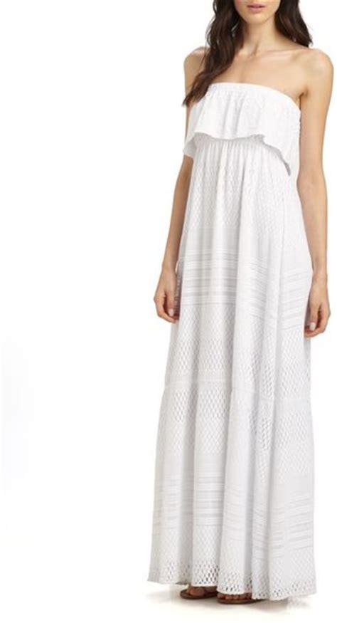 Tania White Dress Maxi Hijaber odabash crochet strapless maxi dress in white lyst