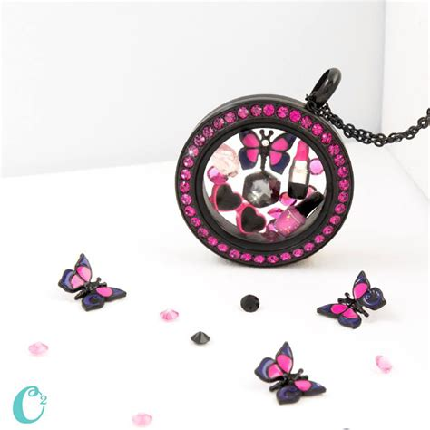Origami Owl Black Locket - origami owl black twist locket with fuchsia crystals
