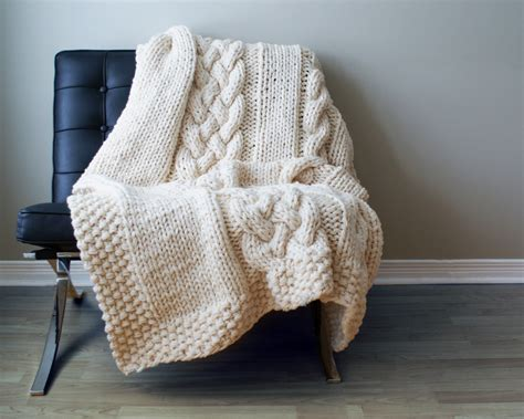 Diy Knitting Pattern Throw Blanket Rug Chunky