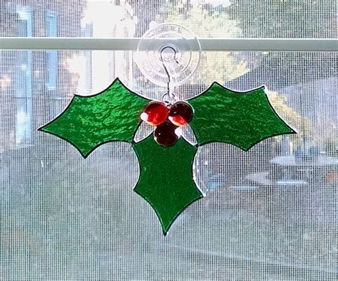 holly stained glass suncatcher christmas ornament