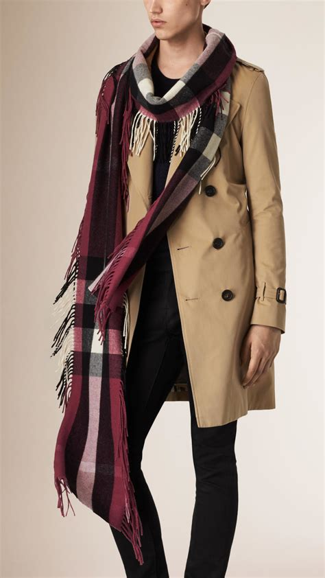 Fringe Scarf lyst burberry the fringe scarf in check in