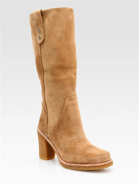 ugg josie suede knee high boots in beige black lyst