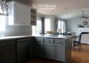 White And Gray Kitchen Cabinets by From Oak To Awesome Painted Gray And White Kitchen