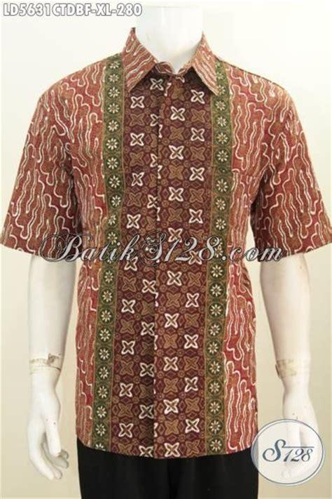 Hem Batik Dolbi hem batik cowok size xl bahan kain dolby kemeja batik lengan pendek cap tulis motif elegan