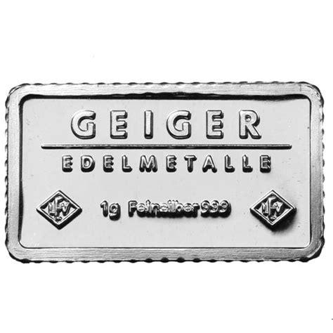 1 Gram Silver Bars Price - buy 1 gram geiger edelmetalle silver bars silver