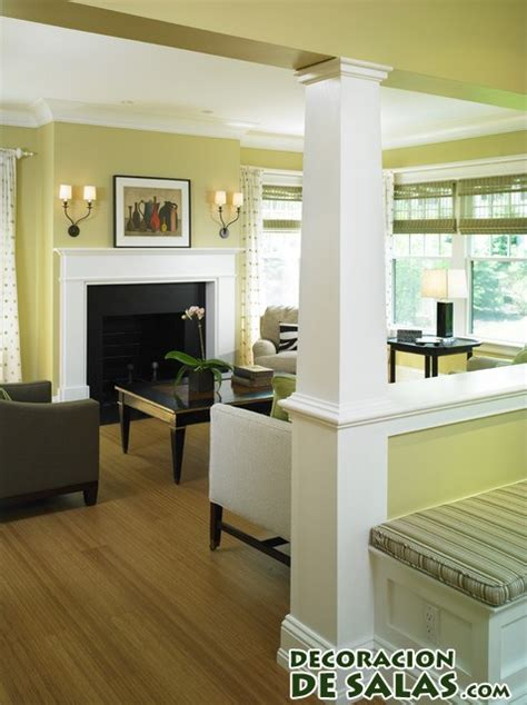 Half Wall Dividing Kitchen And Living Room Salones Con Columnas