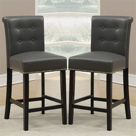 Counter High Dining Chairs Set Of 2 Dining High Counter Height Chair Bar Stool 24 Quot H Grey Pu Nailhead Trim Ebay