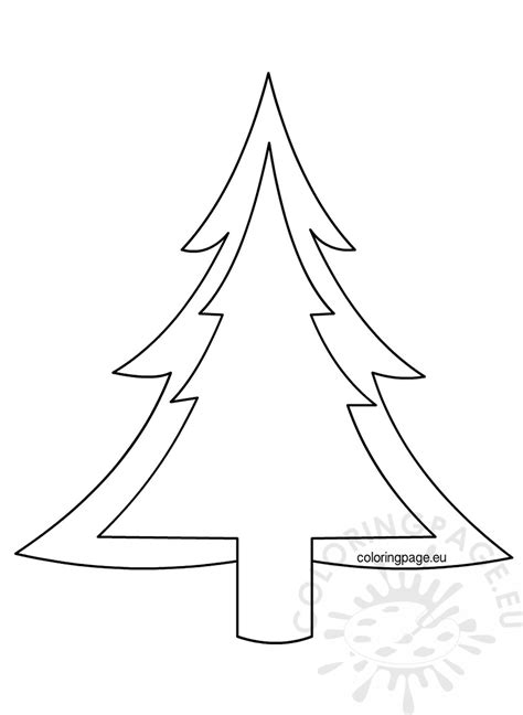 christmas tree outline pattern coloring page