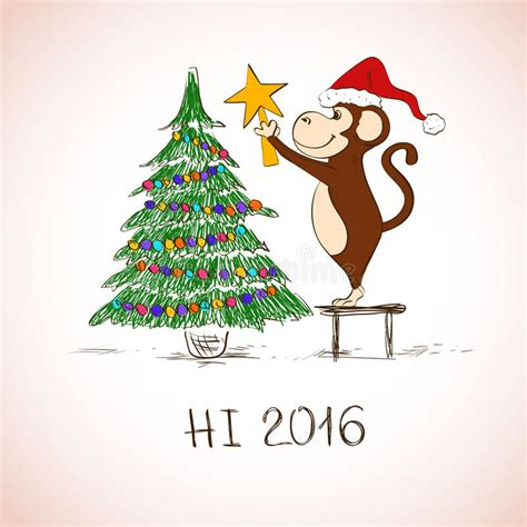 new year greetings related to monkey new year card with monkey decorate the