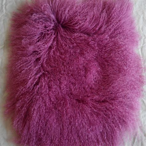 real violet mongolian fur pillow cover decorative throw