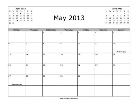 Calendar May 2013 May 2013 Calendar Free Printable Allfreeprintable