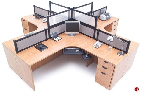 4 person workstation desk the office leader copti cluster of 4 person l shape
