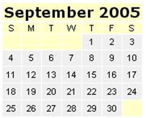 September 2005 Calendar Fein Universe