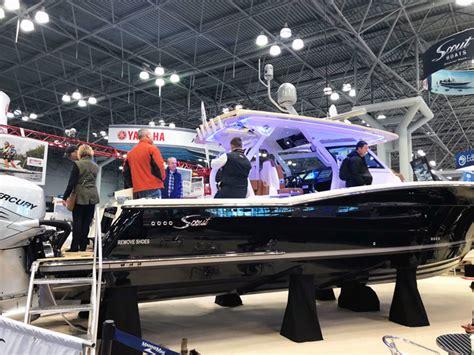 york boat show boats flying  show floor