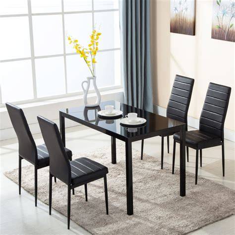 5 Piece Glass Metal Dining Table Furniture Set 4 Chairs Metal Dining Room Table Sets