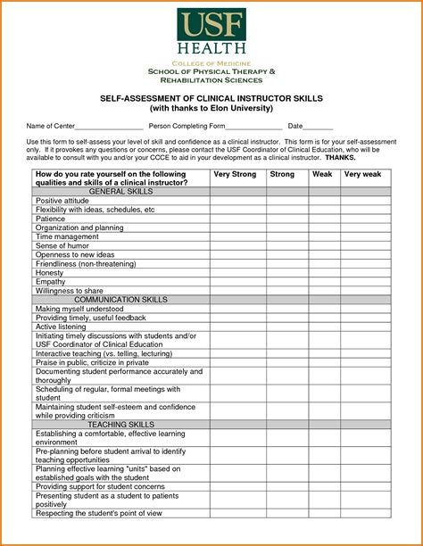 assessment template 8 skills assessment templatereference letters words