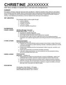 child care resume sle assistant director child care resume sales assistant