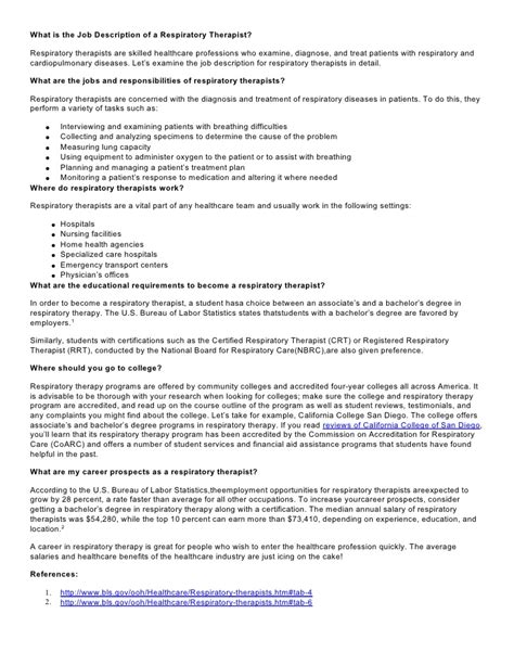 Transport Respiratory Therapist Cover Letter by Respiratory Therapist Description Respiratorytherapistsalary 120831050102 Phpapp01
