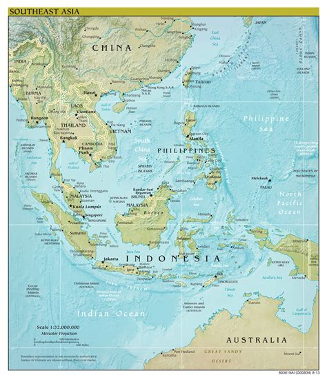 asia map with cities large scale political map of southeast asia with relief