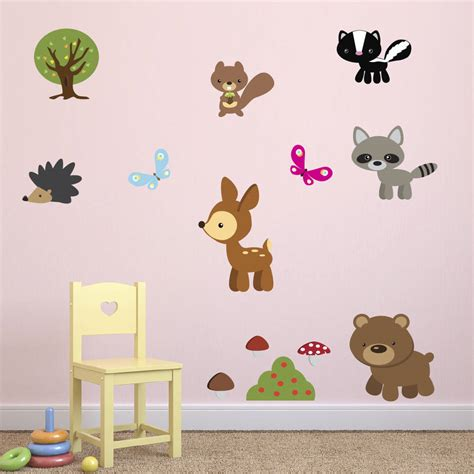 Woodland Animals Wall Stickers woodland animals fabric wall stickers by mirrorin