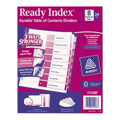 Avery Ready Index Template 8 Tab by Avery 11168 Ready Index 8 Tab Multi Color Table Of
