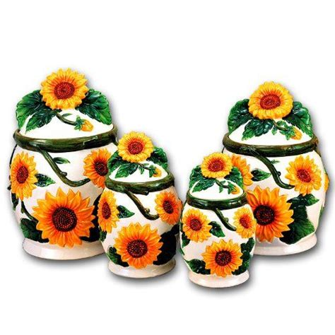 Sunflower Kitchen Canisters by Sunflower Ceramic Dinnerware Set Sunflower 3d Canisters