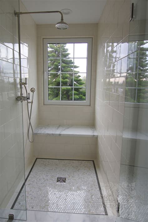 Bathroom Shower With Window Ceramic Shower Surround Transitional Bathroom Cabochon Tile