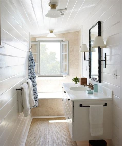 tongue and groove bathroom ideas narrow bathroom with glossy white tongue and groove walls