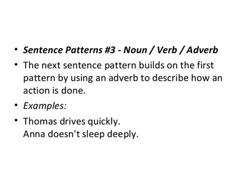 sentence pattern adverb phrase clause and sentence