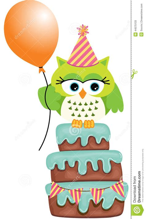 Green Plans by Birthday Owl Cake Stock Vector Image 44575133