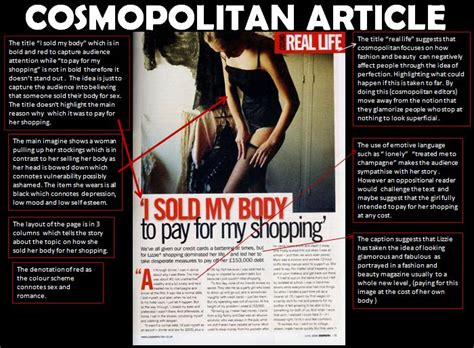 cosmopolitan article a2 media studies production cosmopolitan article analysis