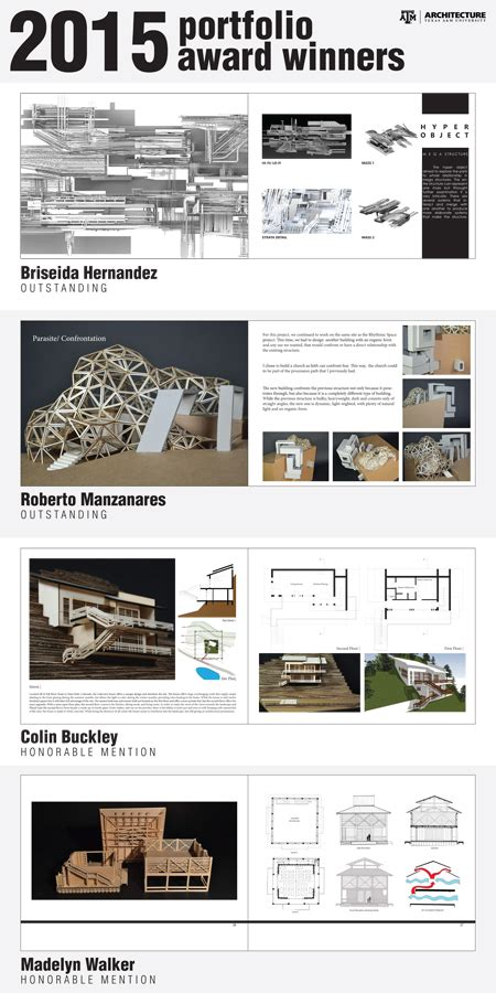 portfolio content layout undergraduate portfolio winners college of architecture