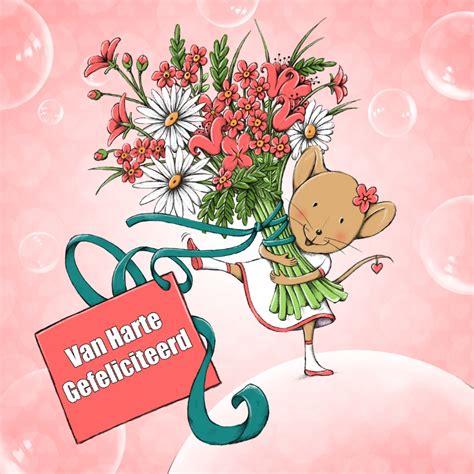 verjaardag 20 jaar bloemen verjaardag muis met bloemen kaartje2go