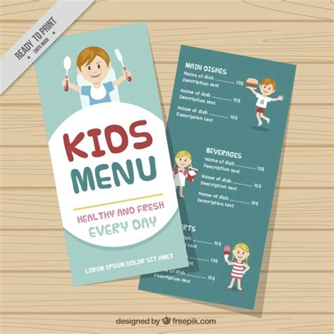 nice kids menu template vector free download