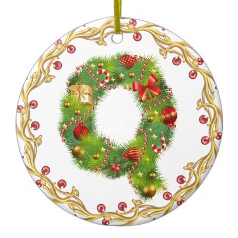 initial q monogrammed christmas ornament circle zazzle