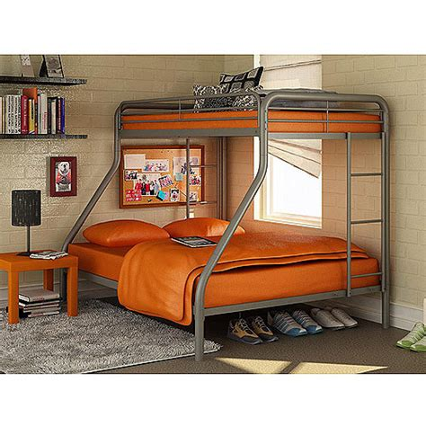 Bunk Bed Sets With Mattresses Dorel Silver Metal Bunk Bed With Set Of 2 Mattresses Navy Walmart