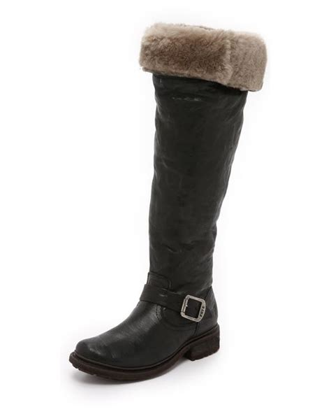 frye valerie shearling boots frye valerie shearling the knee boots in black lyst
