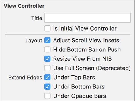 xcode layout navigation bar xcode scroll view auto layout issue when embedding with