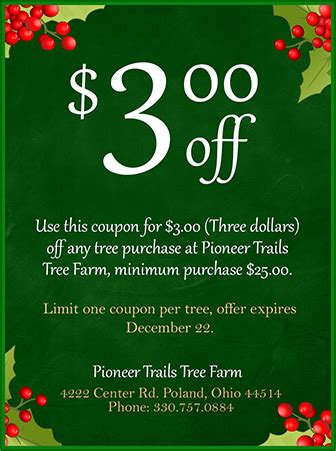 tree farm coupon coupons pioneer trails tree farm