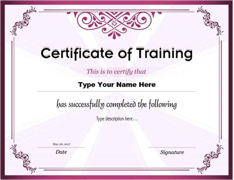 Sample Music Teacher Resume by Certificates Of Training Templates Professional